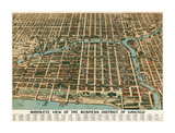 Bird's Eye View of the Business District of Chicago  1898