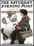 """Gramps and the Snowman"" Saturday Evening Post Cover  December 20 1919"