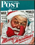 """Santa's in the News"" Saturday Evening Post Cover  December 26 1942"