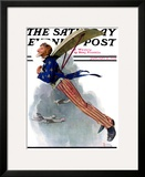 """Flying Uncle Sam"" Saturday Evening Post Cover  January 21 1928"