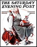 """Santa with Elves"" Saturday Evening Post Cover  December 2 1922"