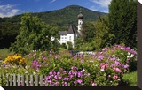 Flower Garden at Hoeglwoerth Monastery  Upper Bavaria  Bavaria  Germany
