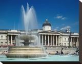 Fountain in front of the National Gallery on Trafalgar Square  London