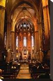 Nave of Catedral La Seu in the Barri Gotic  Barcelona  Catalonia  Spain