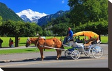 Horse-drawn Carriage on Hoeheweg Street with View of the Jungfrau Massif  Interlaken