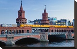 Oberbaum Bridge across River Spree between Friedrichshain and Kreuzberg  Berlin Germany