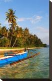 Palm-lined Beach with Fishing Boat  Bangka Island  Sulawesi  Indonesia