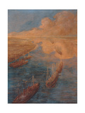Canal Suez (Trade routes)  by Gaetano Previati  1914-1915 Chamber of Commerce  Milan  Italy