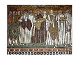 Basilica of San Vitale  Presbytery with Mosaic of Emperor Justinian  6th c Ravenna  Italy
