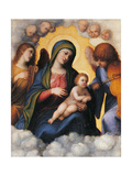 Madonna with Child  Two Angels and Cherubs