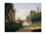 Ducal Park of Colorno with a View of the Pond  by Giuseppe Drugman  1830 Parma  Italy