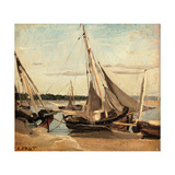 Trouville  Fishing Boats Stranded in the Channel  by Jean-Baptiste-Camille Corot  ca 1830 Paris