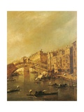 Rialto Bridge and the Riva del Vin (Venice)  by Francesco Guardi  18th c Private Collection  Italy