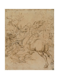 Drawing  St George Killing the Dragon with a Lance