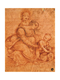 Drawing of Madonna and Child with St Anne