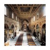 Church of San Lorenzo  4th c Interior view of nave toward alter  Rome Italy
