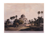Indian landscape with Palace Tomb 19th c aquatint etching Braidense National Library  Milan