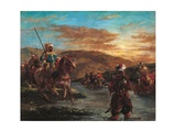 Moroccan Horsemen Crossing a Ford