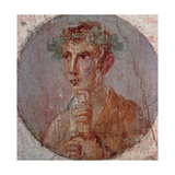 Young Man with Roll  c 55 -79 AD  painting on plaster  Archaeological Museum  Naples  Italy
