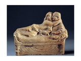 Couple Kissing on Sarcophagus Lid  Roman Terracotta Sculpture  c 1st c Naples  Italy