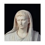 Statue of Augustus Pontifex  10 AD Ancient Roman painting Palazzo Massimo  Rome  Italy