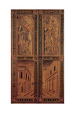 Inlaid wood door with Apollo  Pallas and views using perspective 1474  Florence  Italy