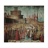 Legend of St Ursula Pilgrims Meet the Pope under the Walls of Rome by Vittore Carpaccio  c 1491