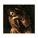 Saint Francis in Prayer  by Caravaggio  c 1606-1607 Ala Ponzone Civic Museum  Cremona Detail
