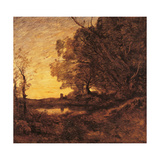 Evening Distant Tower  by Jean-Baptiste-Camille Corot  c 1865-1870 Musee d'Orsay  Paris
