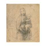 Drawing  Madonna and Child at two thirds figure