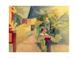 Garden with Woman Reading Giclée par Auguste Macke