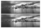 2-Up Sunset Panorama Harbor