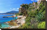 Rocky Coast with View of Menton in France near Ventimiglia  Province of Imperia  Liguria  Italy