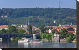 View across Vltava River towards Prague Lesser Town with Petrin Observation Tower  Czech Republic
