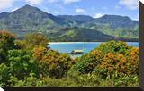 View across the Bay at Hanalei Beach  Island of Kauai  Hawaii  USA