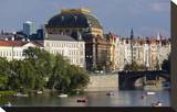 View across Vltava River towards the National Theatre in Prague  Central Bohemia  Czech Republic