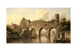 Ruins over the River Birchel at Zutphan in Holland