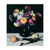 Still Life with Chrysanthemums Against Black  c1912