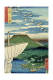 Boats  Village and Castle at Ueno  Iyo Province from 'Famous Places of the Sixty Provinces  1854