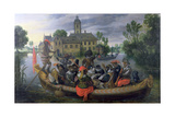 The Boating Party  Satirical Scene with Cats and Monkeys as Humans