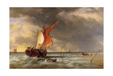 A Dutch Galliot Aground on a Sandbank on the Bies Bosch  Holland  1878