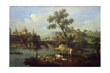 Landscape with a River  Bridge and Flocks