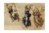 Three Dancing Figures and a Study of a Head