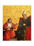 Antipater Kneeling before Juilus Caesar  from the Mirror of Salvation Altarpiece  c1435