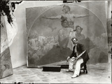 Self Portrait  Working on a Mural for the Lord Mayor's Hall  Obecni Dum  Prague  c1910