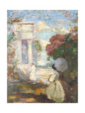 Lyrical Landscape with Two Figures in Nineteenth Century Dress  1890-1900