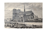 Antique Engraved Illustration Of Notre Dame De Paris  From A Drawing Of Fichot And Gaildrau
