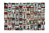Composition Of Windows Showing Italian Flags