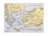 Aegean Region In 13Th Century Old Map Reproduction d'art par Marzolino