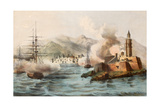 Antique Illustration Shows Palermo Bombing In 1860 By Bourbon'S Fleet